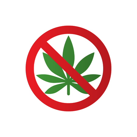 Cannabis leaf icon in prohibition red circle illustration Illustration