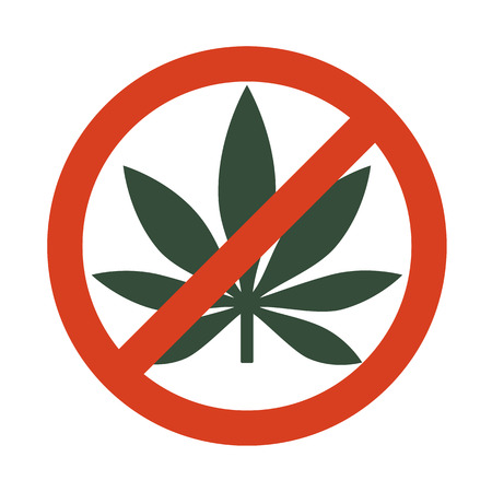 Marijuana Leaf with forbidden sign - no drug. Cannabis leaf icon in prohibition red circle.  Isolated vector illustration on white background.