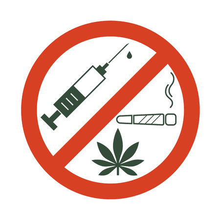 No drugs allowed. Drugs, marijuana leaf with forbidden sign - no drug. Drugs icon in prohibition red circle. Anti drugs. Just say no. Isolated vector illustration on white background. Ilustracja