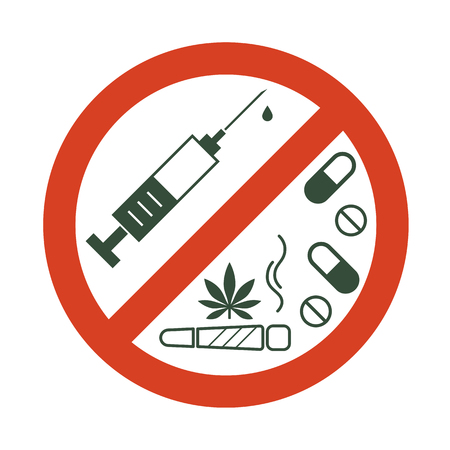 No drugs allowed. Drugs, marijuana leaf with forbidden sign - no drug. Drugs icon in prohibition red circle. Anti drugs. Just say no. Isolated vector illustration on white background. Иллюстрация