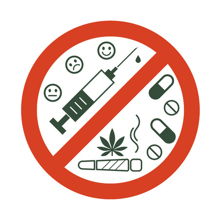 No drugs allowed. Drugs, marijuana leaf with forbidden sign - no drug. Drugs icon in prohibition red circle. Isolated vector illustration on white background.