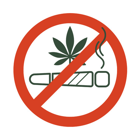 No drugs allowed. Marijuana joint, spliff, with forbidden sign - no drug. Cannabis cigarette icon in prohibition red circle. Isolated vector illustration.