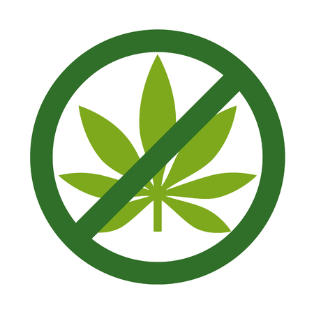 Marijuana Leaf with forbidden sign - no drug. No to marijuana. Cannabis leaf icon in prohibition green circle. Isolated vector illustration on white background. Vettoriali