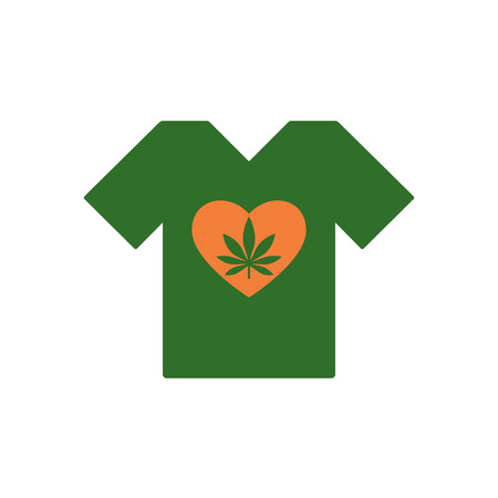 T-shirt with Heart symbol and cannabis leaf inside. Marijuana Heart. Tee shirt template. Isolated vector illustration