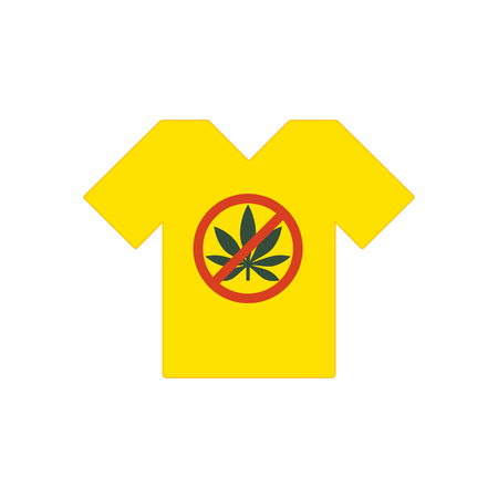 Yellow tee shirt. No drugs allowed. Marijuana leaf with forbidden sign - no drug. Drugs icon in prohibition red circle.
