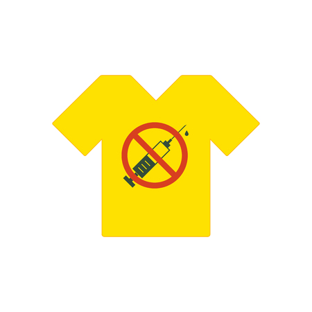 Yellow tee shirt. No drugs allowed. Syringe with forbidden sign - no drug. Syringe icon in prohibition red circle.