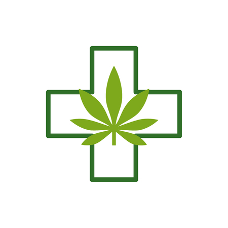 Marijuana leaf with Green Cross. Medical Cannabis. Icon Logo Template. Health and Medical therapy. Isolated vector illustration on white background.