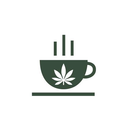Leaf of cannabis on cup. Cannabis herbal tea and marijuana leaves. Illustration