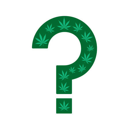 Marijuana  Question mark made from cannabis leaves on a white background. Illustration