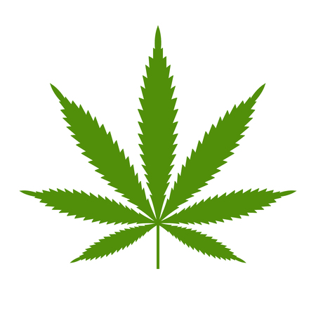 Marijuana or cannabis leaf Icon template isolated illustration on white background. Stock Illustratie