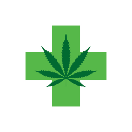 Marijuana leaf with Green Cross. Medical Cannabis. Icon Logo Template. Health and Medical therapy. Isolated vector illustration on white background. Illustration