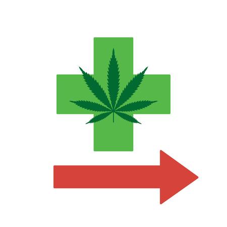 Green cross points the way to legal marijuana. Medical marijuana. Isolated vector. Illustration