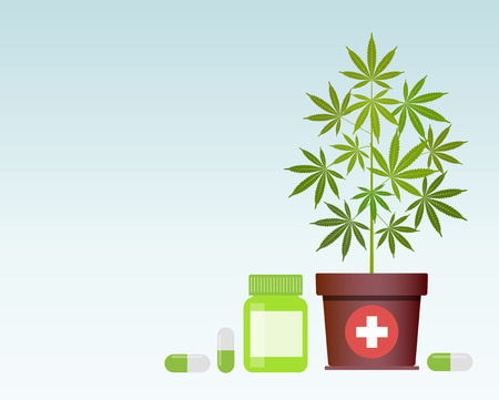 Bottle with medical marijuana and Medical cannabis pills. Bottle mock up. Vector illustration with copy space. Illustration