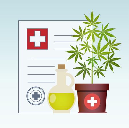 Marijuana plant and cannabis oil. Hemp oil in a glass jar mock up. CBD oil hemp products. Medical marijuana in Healthcare a prescription for medical marijuana. Certificate. Safety. Quality. Vector. Illustration