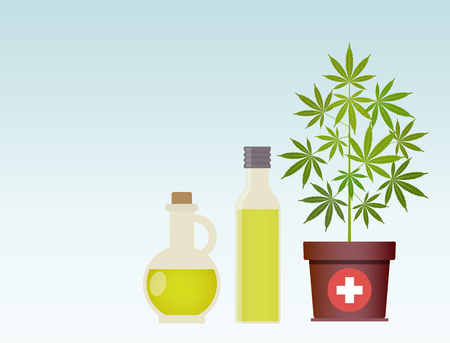 A potted plant and oil in bottles