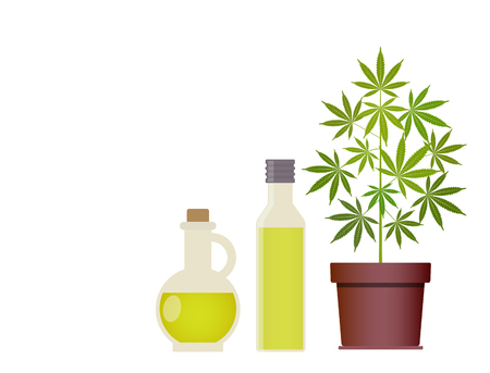 Marijuana plant and cannabis oil. Medical marijuana. Hemp oil in a glass jar. CBD oil hemp products. Oil glass bottle mock up. Vector illustration with copy space. Illustration