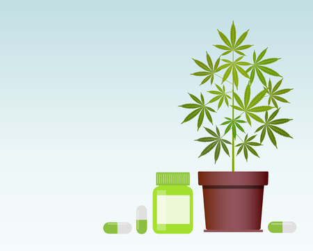 Bottle with medical marijuana and Medical cannabis pills. Bottle mock up. Vector illustration with copy space. Ilustrace
