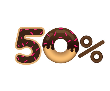 Sale 50 percent and discount price. Lettering made in the form of a donut with glaze isolated on white background. Sale of food. Shopping and low price symbol. Vector.