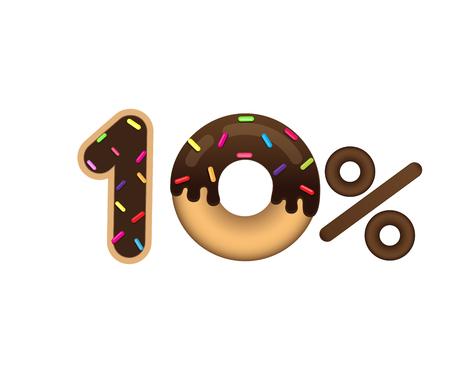 판매 10 % 및 할인 가격. 흰색 배경에 고립 된 유약 도넛 형태로 만든 글자. 음식 판매. 쇼핑 및 저렴한 가격 기호. 벡터.