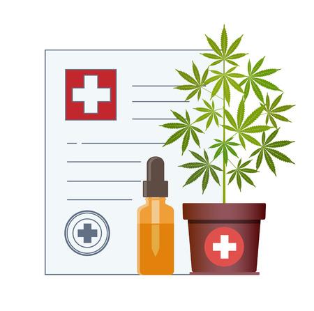 Marijuana plant and dropper with CBD oil. Cannabis Oil. Medical marijuana in Healthcare a prescription for medical marijuana. Oil bottle mock up. Certificate. Safety. Quality. Legalization. Vector. Vettoriali