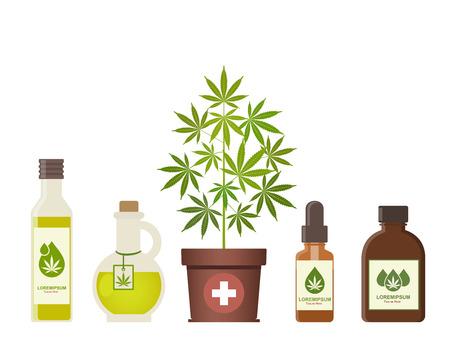 Planta de marihuana y aceite de cannabis. Marihuana medicinal. Aceite de cáñamo en un frasco. Productos de cáñamo de aceite de CBD. Maqueta de botella de vidrio de aceite. Etiqueta de producto de embalaje y plantilla gráfica de logotipo. Ilustración de vector.
