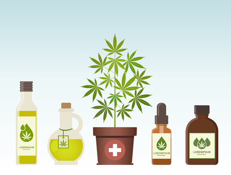 Marijuana plant and cannabis oil. Medical marijuana. Hemp oil in a jar. CBD oil hemp products. Oil glass bottle mock up. Packaging product label and logo graphic template. Vector illustration. Ilustração