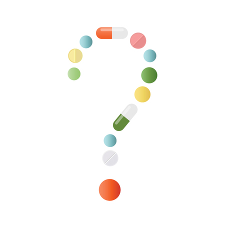 Question mark made of colored pills and capsules on white background. What medicines to choose better, what will help. Health problem concept. Vector isolated. Illustration