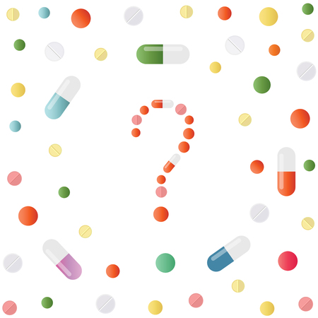 Question mark made of colored pills and capsules on white background. Medicine background with drugs, pills, tablets, capsules and vitamins. What medicines to choose better, what will help. Vector Ilustração