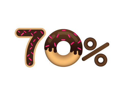 Sale 70 percent and discount price. Lettering made in the form of a donut with glaze isolated on white background. Sale of food. Shopping and low price symbol. Vector. Illustration