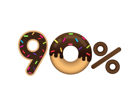 Sale 90 percent and discount price. Lettering made in the form of a donut with glaze isolated on white background. Sale of food. Shopping and low price symbol. Vector. Ilustrace