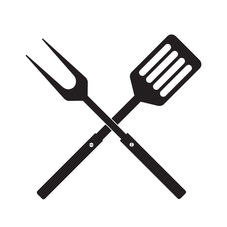 BBQ or grill tools icon. Crossed barbecue fork with spatula. Black simple silhouette. Symbol Template Logo. Vector illustration flat design. Isolated on white background.