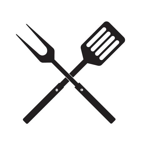 Symbol für Grill- oder Grillwerkzeuge. Gekreuzte Grillgabel mit Spatel. Schwarze einfache Silhouette. Symbol Vorlage Logo. Flaches Design der Vektorillustration. Auf weißem Hintergrund isoliert.