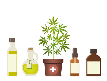 Marijuana plant and cannabis oil. Medical marijuana. Hemp oil in a glass jar. CBD oil hemp products. Oil glass bottle mock up. Isolated vector illustration.