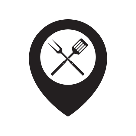 Food Location Icon Logo Design Element. BBQ or grill tools icon. Crossed barbecue fork with spatula and map pointer. Black simple silhouette. Vector flat illustration. Isolated on white background.
