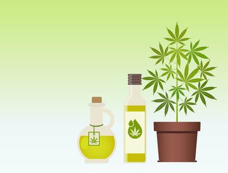 Marijuana plant and cannabis oil. Hemp oil in a jar. CBD oil hemp products. Oil glass bottle mock up. Packaging product label and logo graphic template. Vector illustration with copy space.