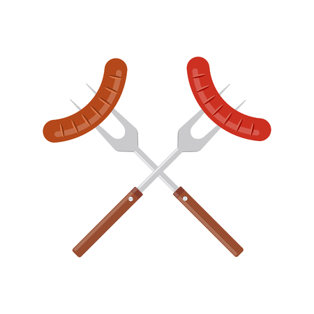 Sausage on barbecue fork. Grilled sausage. BBQ or grill tools icon. Crossed barbecue forks with grilled sausages. Symbol Template Logo. Vector illustration flat design. Isolated on white background.