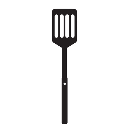 Kitchen spatula for cooking. Barbecue spatula. Black simple silhouette. BBQ or grill tools icon. Symbol Template Logo. Vector illustration flat design. Isolated on white background.