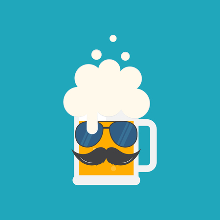 Beer mug with sunglasses and a mustache. Oktoberfest beer festival hipster poster design. Symbol Template Logo. Vector illustration flat design. Isolated.