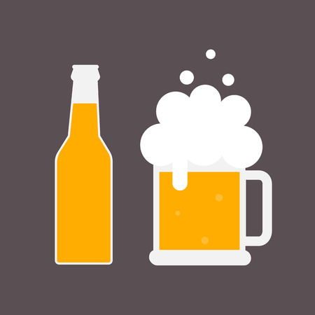 Beer bottle and mug of beer. Beer icon. Mock up glass beer. Symbol Template Logo. Isolated vector illustration.