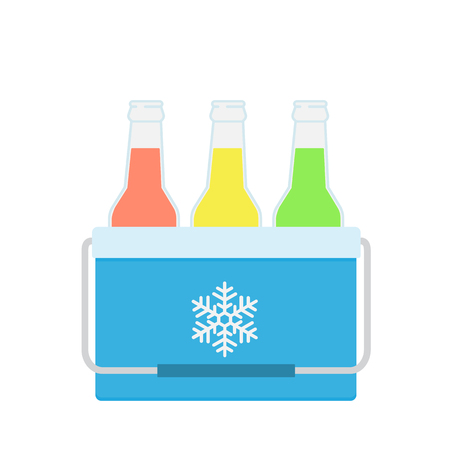 Freezer-bag in blue color. Vector illustration of drinks in a small refrigerator. Cooler bag. Isolated vector illustration on white background.