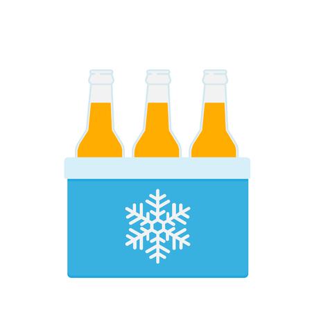 Bolsa para congelador en color azul. Bolsa más fresca con botellas de cerveza. Icono de refrigerador portátil. Ilustración de vector aislado sobre fondo blanco.