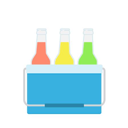 Bolsa para congelador en color azul. Ilustración de vector de bebidas en una nevera pequeña. Bolsa de enfriamiento. Ilustración de vector aislado sobre fondo blanco.