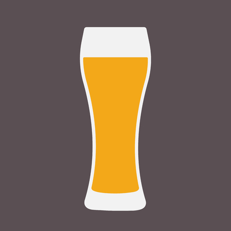 Glass of beer flat icon. Symbol Template Logo. Isolated vector illustration