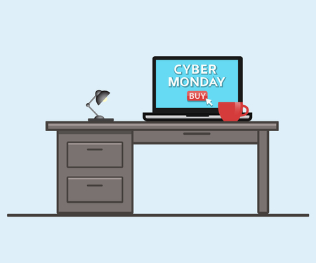 Cyber monday sale. Laptop computer with a cup of coffee. Holiday online shopping concept. Electronic store, comfort and time save concept. Isolated vector illustration. Vectores