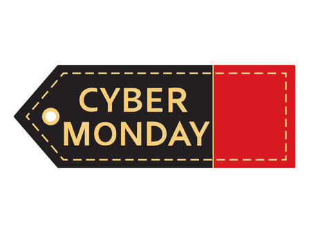 Cyber monday sale. Inscription design template. Cyber monday banner with copy space. Isolated vector illustration on white background.