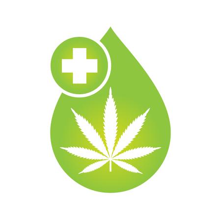 Diseño de icono de aceite de cannabis medicinal con hoja de marihuana y gota de aceite de cáñamo. Extracto de cannabis de aceite de CBD. Etiqueta de producto de icono y plantilla gráfica de logotipo. Ilustración de vector aislado sobre fondo blanco.
