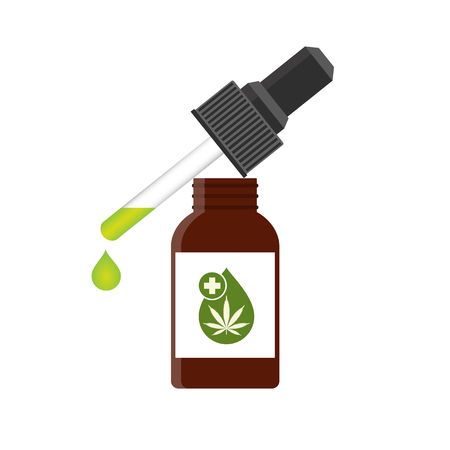CBD oil cannabis extract. Medical marijuana. Hemp oil in a bottle. Mock up of cannabis oil. Icon product label and logo graphic template. Isolated vector illustration on white background. Stockfoto - 110526787
