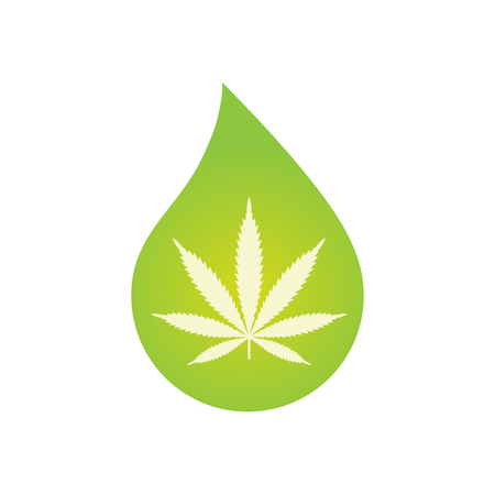 Medical Cannabis oil icon design with Marijuana leaf and hemp oil drop. CBD oil cannabis extract. Icon product label and logo graphic template. Isolated vector illustration on white background. Banco de Imagens - 110750723