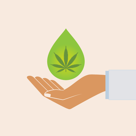 Hand holding oil drop with a marijuana leaf. Medical Cannabis oil. CBD oil cannabis extract. Natural Hemp oil. Icon product label and logo graphic template. Isolated vector illustration.