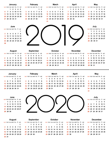 Calendar 2019 and 2020 year. Simple Vector Template. Stationery Design Template. Calendar design in black and white colors, holidays in red colors. Isolated vector illustration on white background. 向量圖像